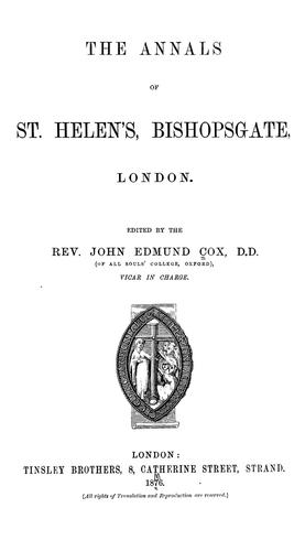 Download The annals of St. Helen's, Bishopsgate, London.