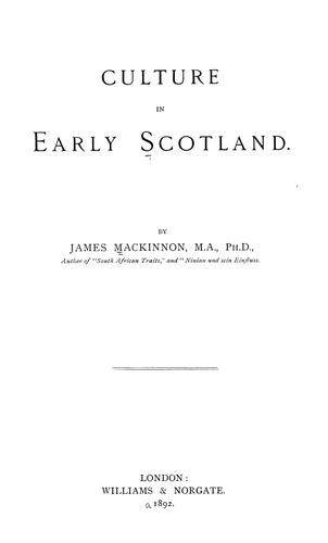 Download Culture in early Scotland.