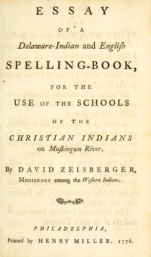 Essay of a Delaware-Indian and English spelling-book