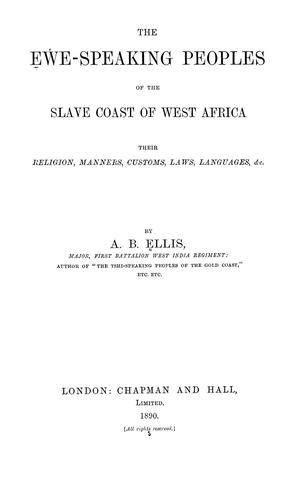 The Eʻwe-speaking peoples of the Slave Coast of West Africa