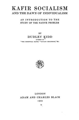 Download Kafir socialism and the dawn of individualism