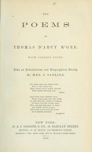The poems of Thomas D'Arcy McGee.