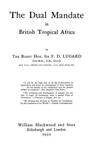 Download The dual mandate in British tropical Africa