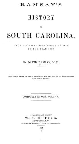 Download Ramsay's history of South Carolina