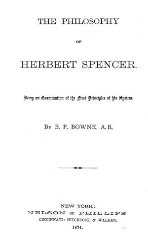 Download The philosophy of Herbert Spencer.