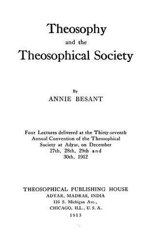 Download Theosophy and the theosophical society