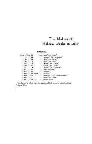 The makers of Hebrew books in Italy