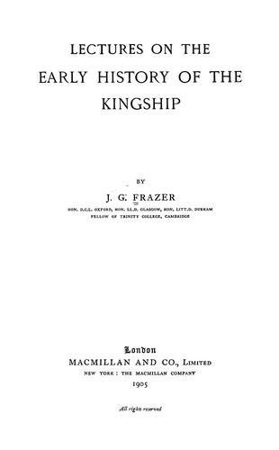 Download Lectures on the early history of the kingship