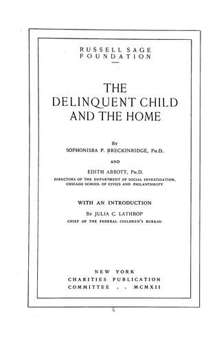 The delinquent child and the home
