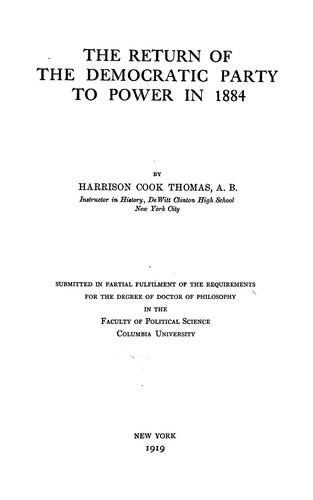 Download The return of the Democratic Party to power in 1884
