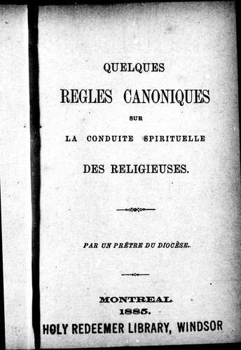 Download Quelques règles canoniques sur la conduite spirituelle des religieuses