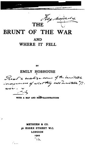 The Brunt of the War, and where it Fell