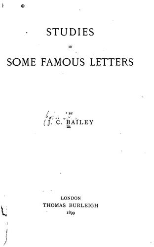Studies in Some Famous Letters …