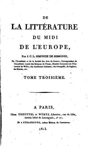 De la littérature du Midi de l'Europe,