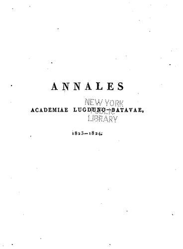 Download Annales Academiae lugduno-batavae