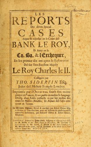 Download Les reports des divers special cases argue & adjudge en le Court del bank le Roy
