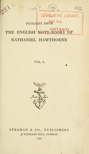 Passages from the English note-books of Nathaniel Hawthorne