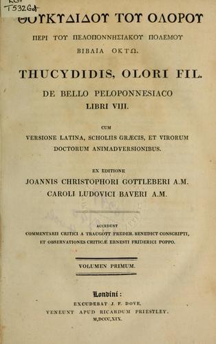 De bello Peloponnesiaco libri VIII