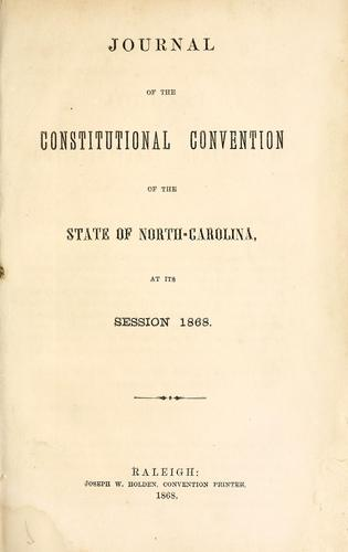 Journal of the Constitutional Convention of the state of North-Carolina