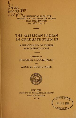 Download The American Indian in graduate studies