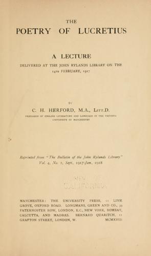 The poetry of Lucretius