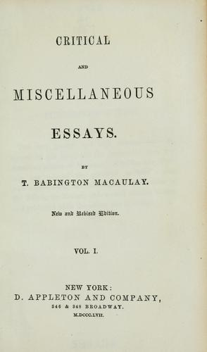 Download Critical and miscellaneous essays.