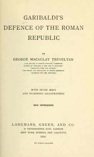 Download Garibaldi's defence of the Roman republic