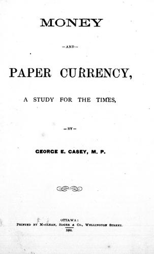 Money and paper currency