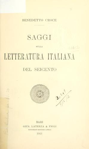 Saggi sulla letteratura italiana del seicento.