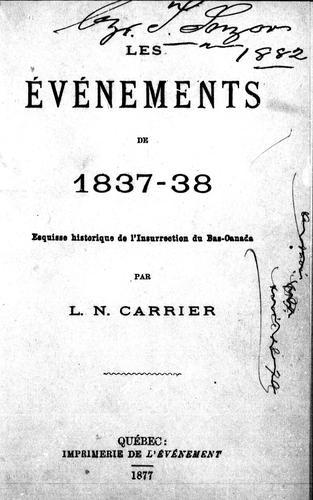 Download Les événements de 1837-38