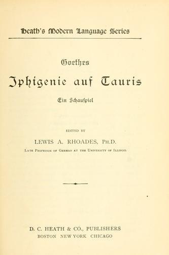 Download Iphigenie auf Tauris, ein Schauspiel