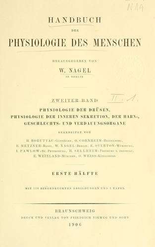 Handbuch der Physiologie des Menschen.