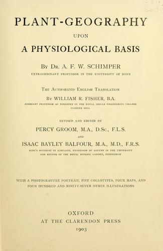 Plant-geography upon a physiological basis.