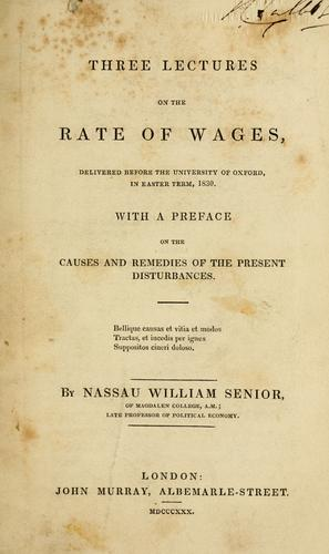Download Three lectures on the rate of wages