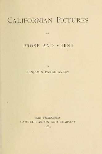 Download Californian pictures in prose and verse