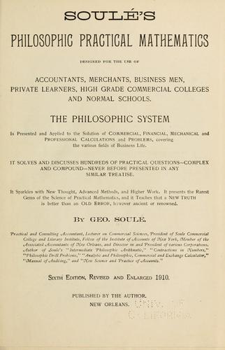 Soulé's philosophic practical mathematics