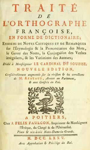 Traité de l'orthographe Françoise