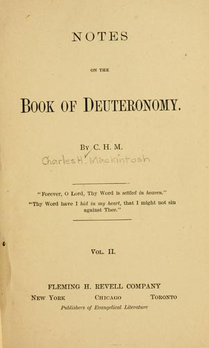 Notes on the Book of Deuteronomy