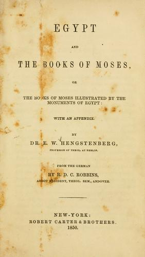 Download Egypt and the books of Moses