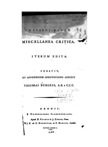 Download Ricardi Dawes Miscellanea critica