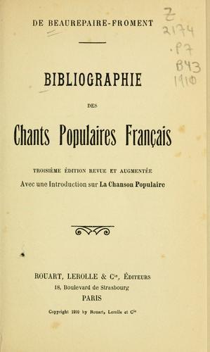 Download Bibliographie des chants populaires français