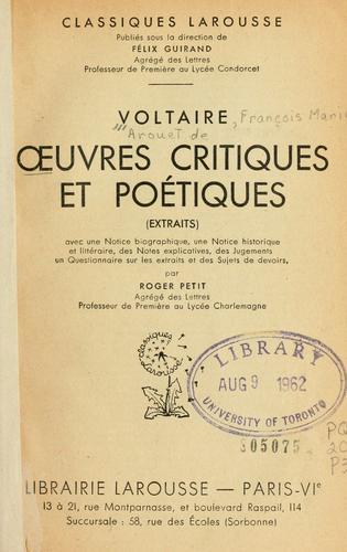 Oeuvres critiques et poétiques