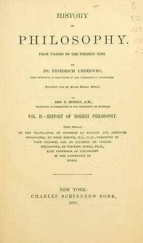 A history of philosophy from Thales to the present time