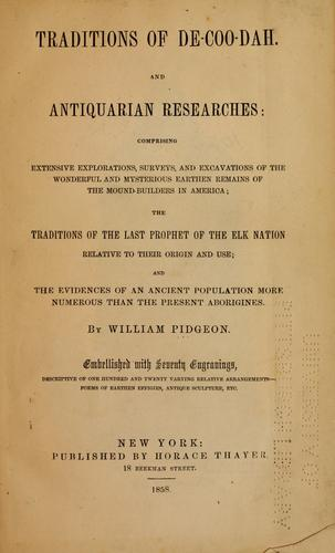 Download Traditions of De-Coo-Dah, and antiquarian researches