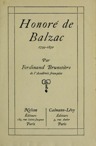 Honoré de Balzac, 1799-1850.