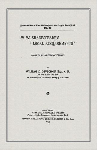"""In re Shakespeare's """"legal acquirements"""""""