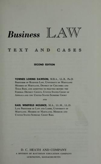 Business law: text and cases by Townes Loring Dawson