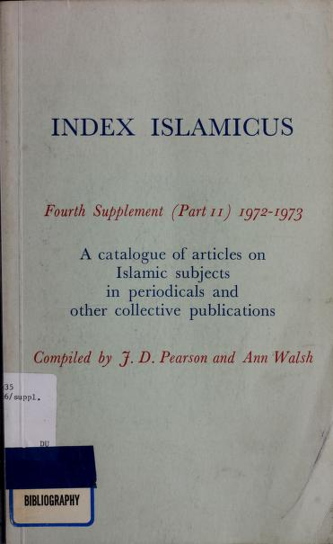 Index islamicus by J.D Pearson