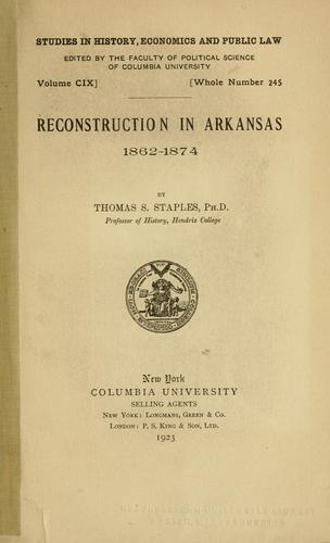 Reconstruction in Arkansas, 1862-1874