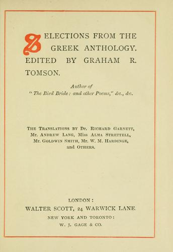 Selections from the Greek anthology by